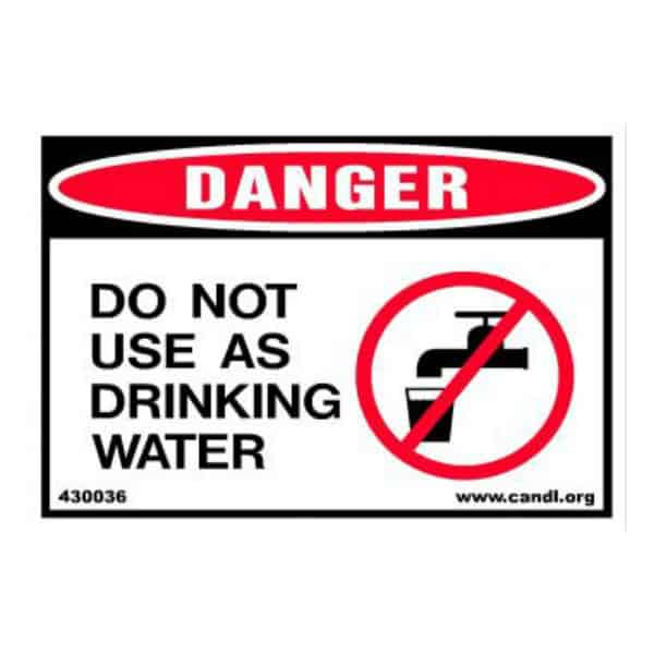 Do Not Use as Drinking Water Decal