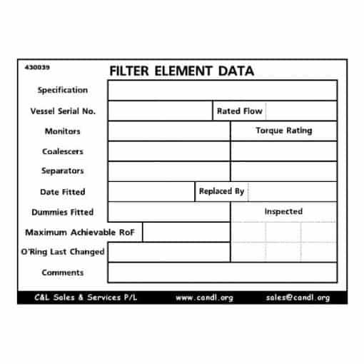 Filter Element Data