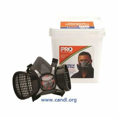 Assembled Half Mask With ABEK1 Cartridges + Storage Bucket ProChoice Safety Gear