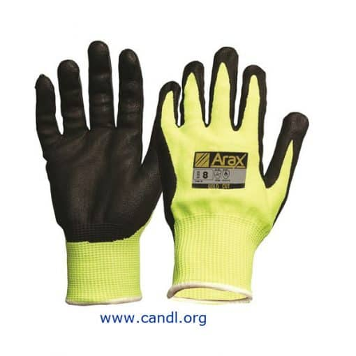 Arax® Gold, Nitrile Sand Dip On Hi-Vis Yellow Liner Gloves