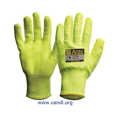 Arax® Gold Hi-Vis Yellow With Hi-Vis Yellow PU Palm Gloves
