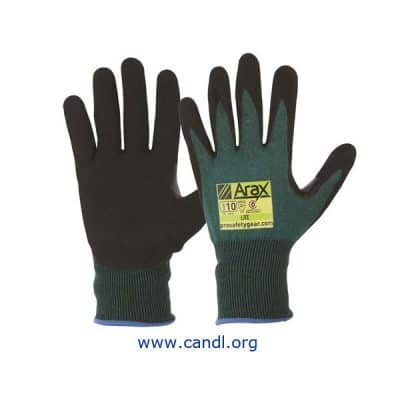 Arax® Green Nitrile Sand Dip Palm Gloves