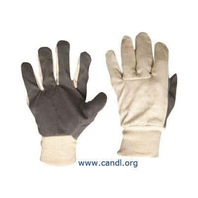 Cotton Drill Vinyl Palm Gloves
