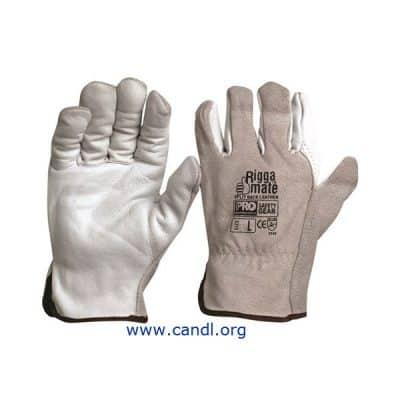 Riggamate Natural Cowgrain Palm / Split Back Gloves