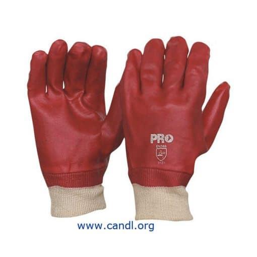 27cm Red PVC / Knit Wrist Gloves