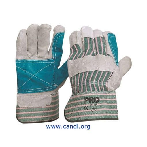 Green and Grey Striped Cotton and Leather Gloves