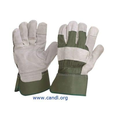 Green Cotton and Leather Gloves