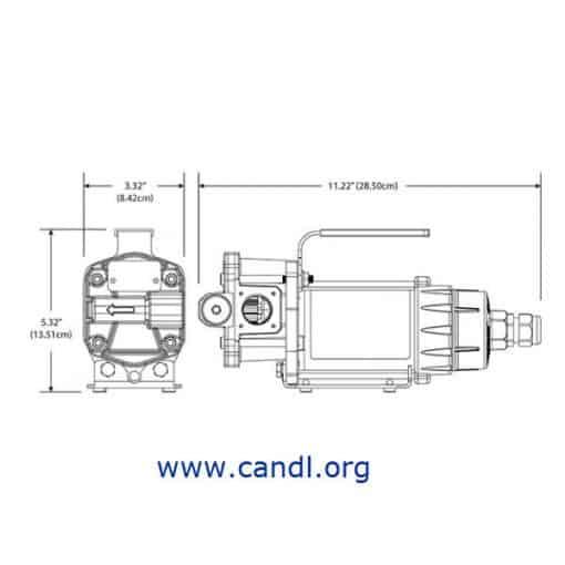 12V DC G8P Portable Pump Dimensions